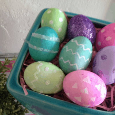 DIY: Polka Dot and Glitter Easter Eggs