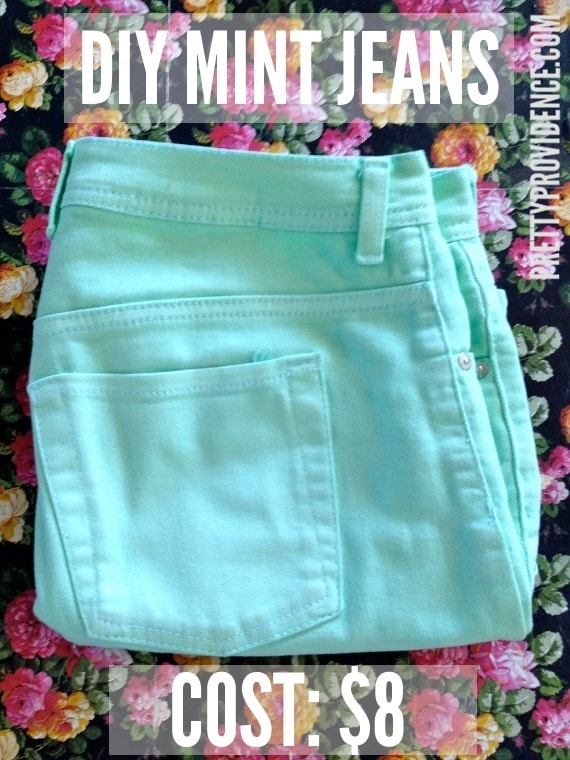 Easy DIY dyed mint jeans!