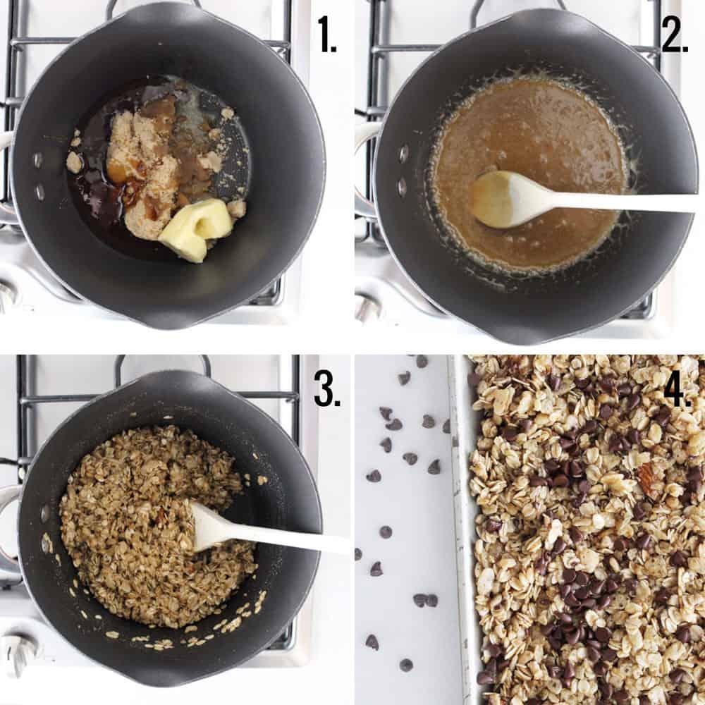 process step shots of making homemade no bake granola bars on the stove