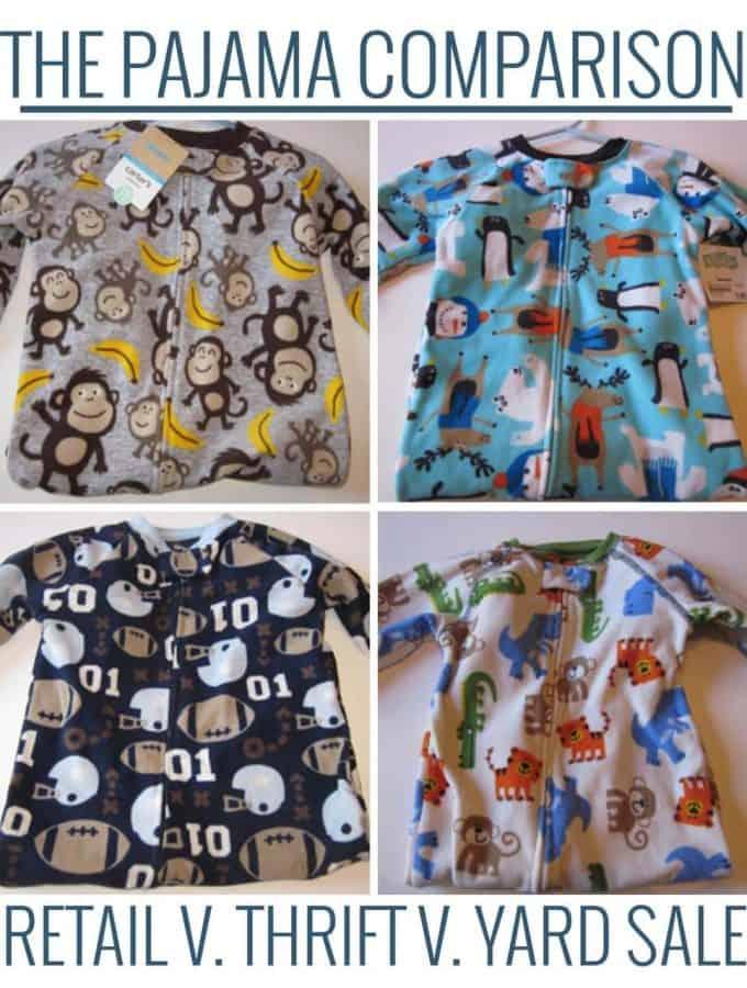The Pajama Comparison: Retail vs. Thrift vs. Garage Sales