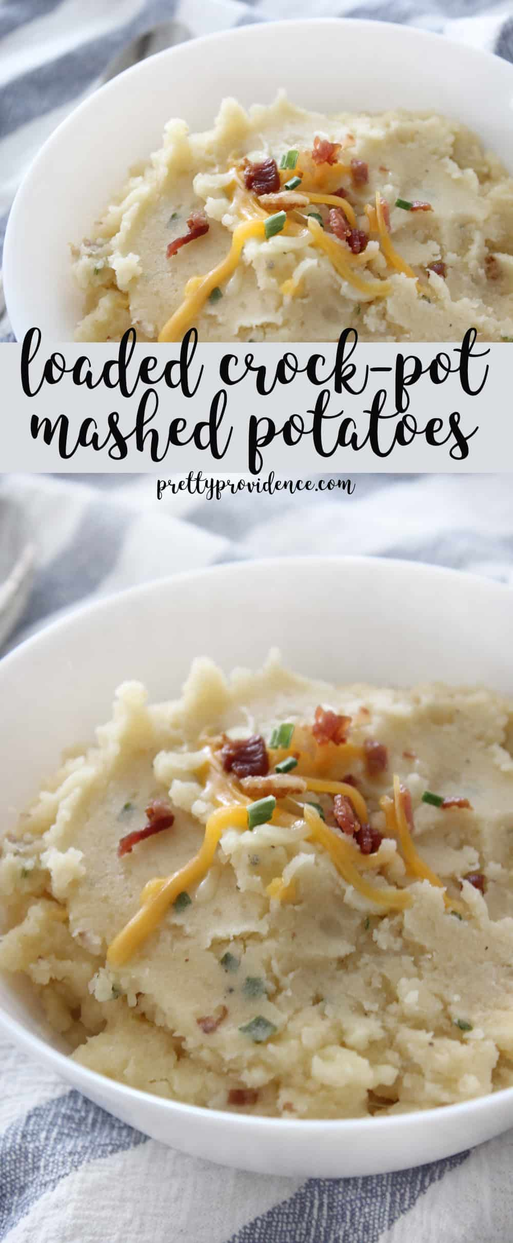Slow cooker loaded mashed potatoes are the PERFECT side to bring to any pot luck gathering! So easy and so GOOD!