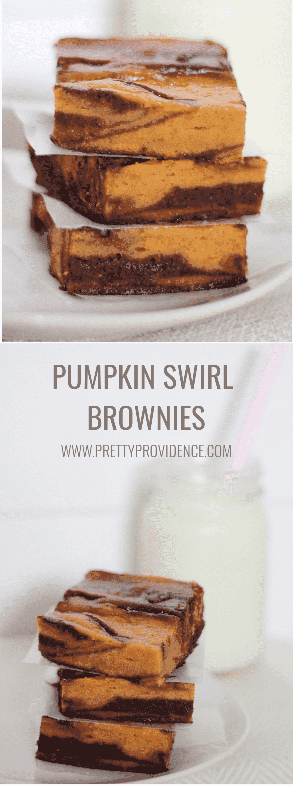 These pumpkin swirl brownies are UNREAL. The best pumpkin chocolate recipe for fall baking! prettyprovidence.com