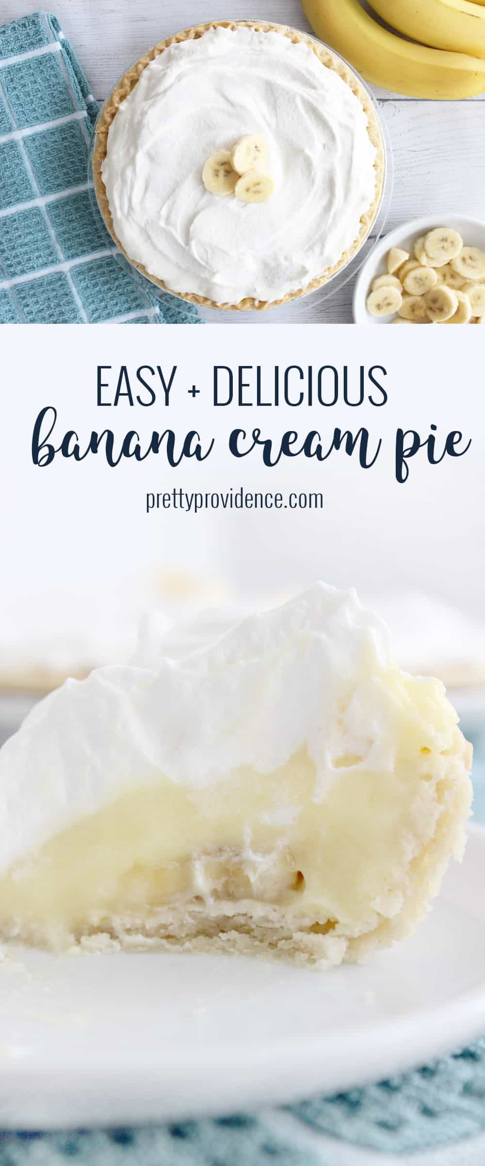 A banana cream pie recipe so delicious you won't believe how easy it is to make! #bananacreampie #easybananacreampierecipe #bananacreampierecipe #easypierecipe #bananacreampiewithpudding