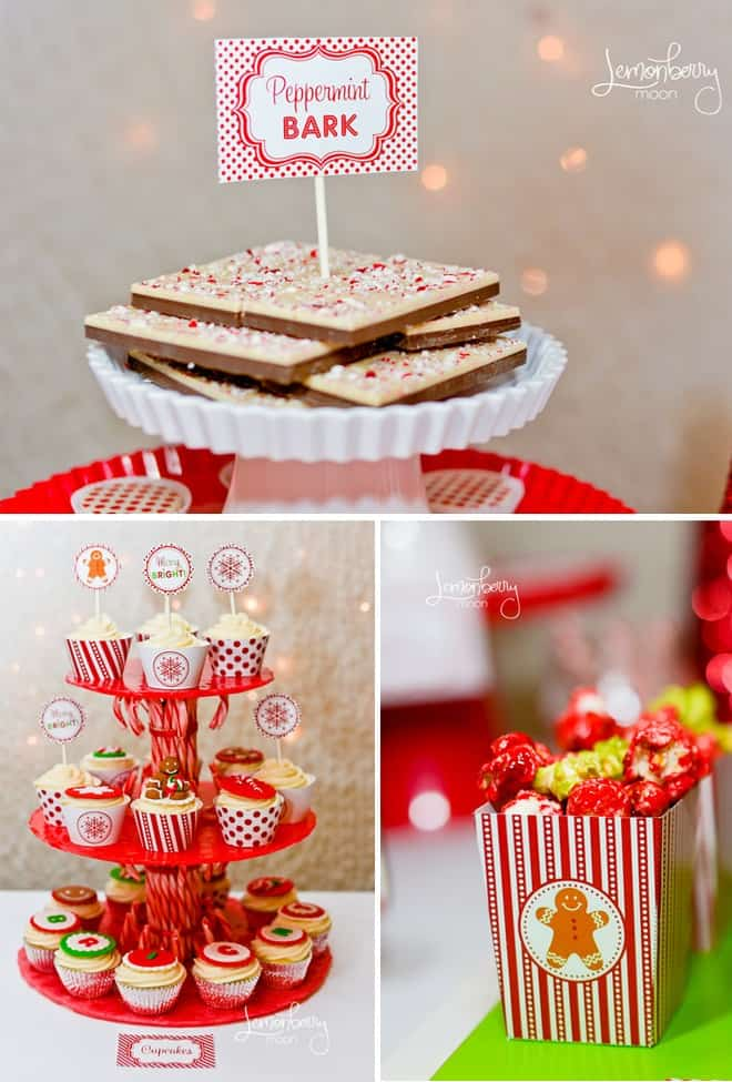 Holiday Party Printables Red and White