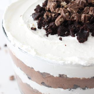 close up view of chocolate trifle!