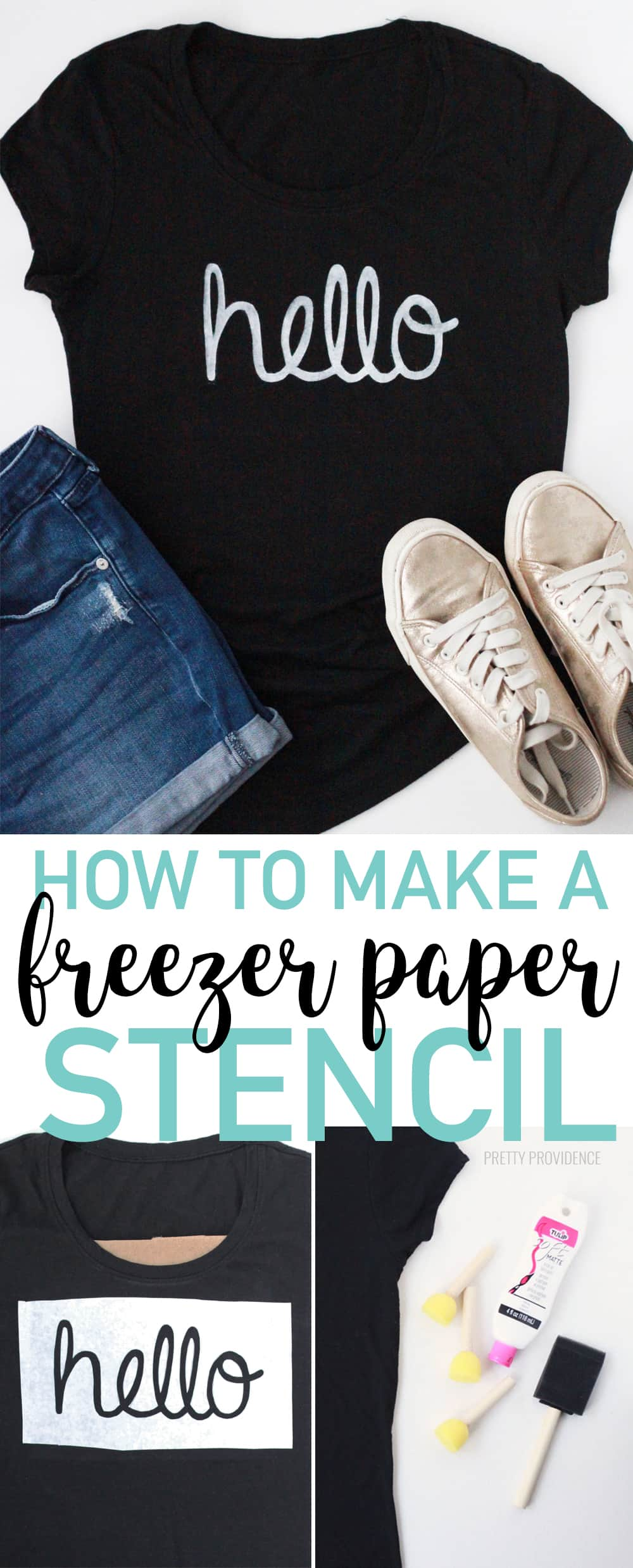 How to make a freezer paper stencil to paint on fabric, like a t-shirt or tote bag. You can also use freezer paper stencil on wood! #stencil #paint #craft #freezerpaperstencil #howto #diy #crafty #craftideas #easycrafts #stencilonwood #stencilonshirt #shirt #tshirt #howtomake #fabricpainting #tulip #fabricpaint #freezerpaper