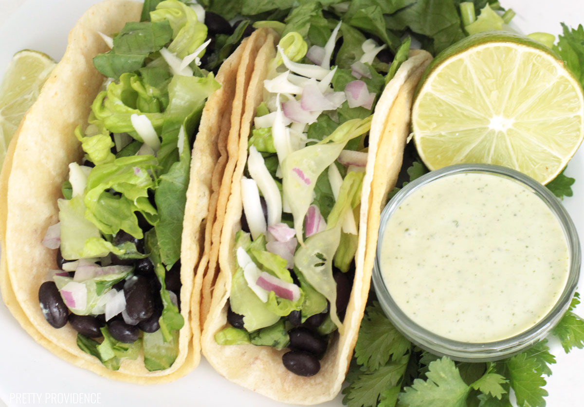 Healthy black bean tacos with jalapeño ranch! Delicious, easy, and good for you!
