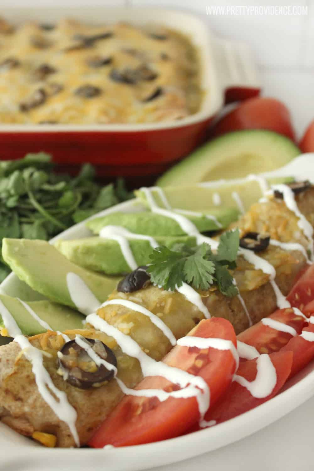 Oh. My. Gosh. These enchiladas are beyond good! They don't even taste healthy but they are totally guilt free! A new family favorite, for sure!