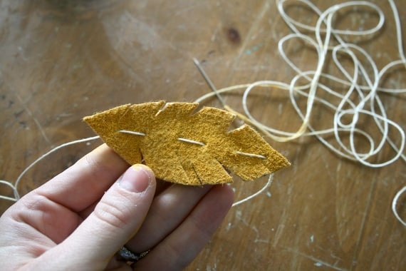 stringing fall garland