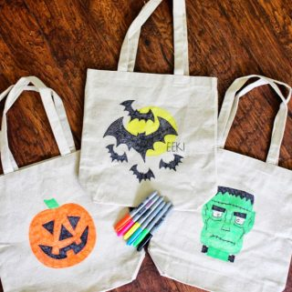 Halloween Trick or Treat Tote Bags with neon sharpies.