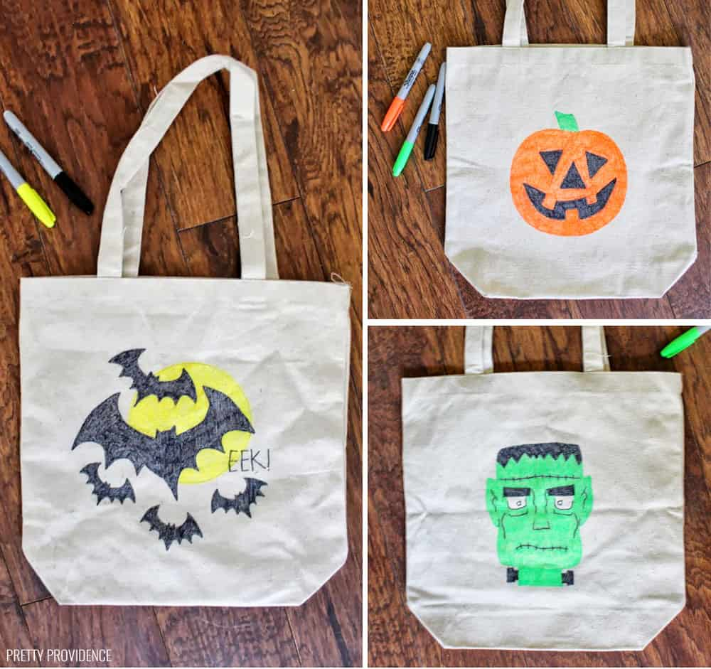 Sharpie Trick or Treat tote bags - an awesome, easy Halloween craft. Bats, Jack-O-Lanterns, Frankenstein.