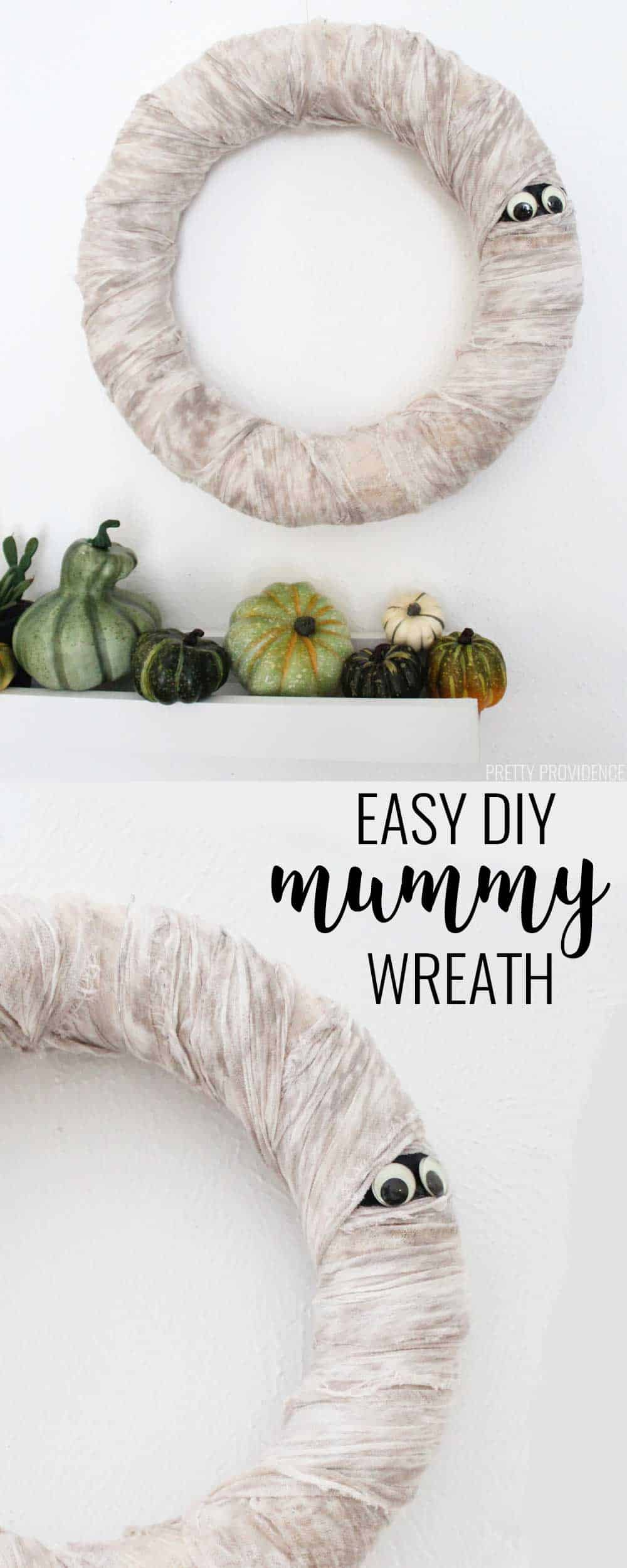 Halloween Mummy Wreath! This is an easy DIY and it only costs a few bucks!