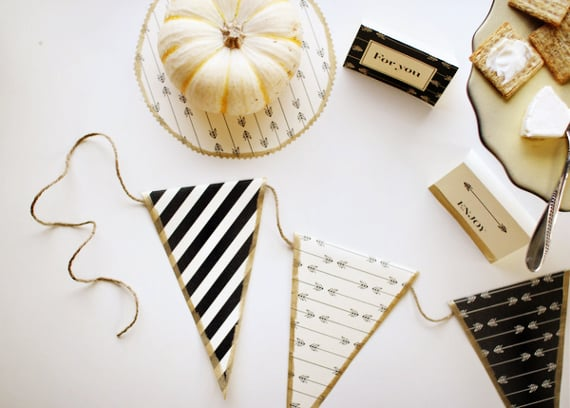 Thanksgiving black, white, and gold free printable decorations and white pumpkins.