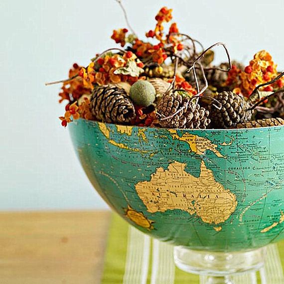 thanksgiving centerpiece in a globe