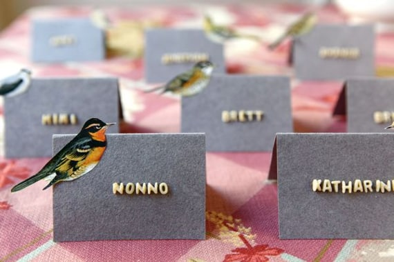 Thanksgiving place cards spelling names out using alphabet soup