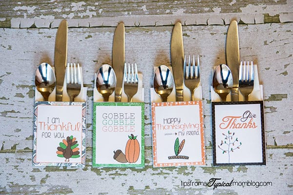 Thanksgiving Dinner Printable envelopes with Utensils tucked into them.