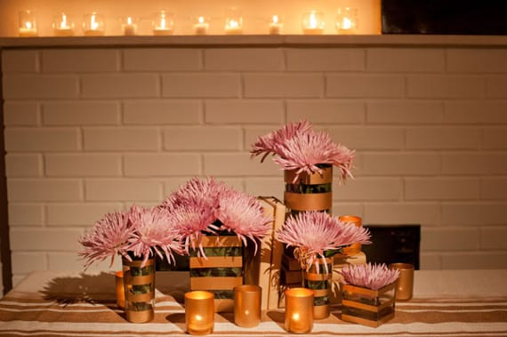 thanksgiving centerpiece: stripes, mismatched jars, paper-covered books