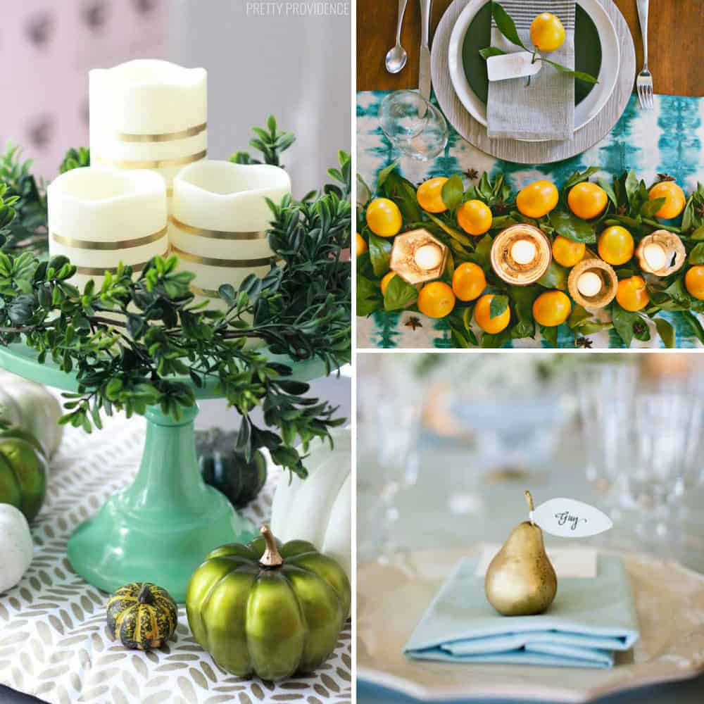 Thanksgiving table decor collage. Centerpiece ideas, place settings and whole table scapes.