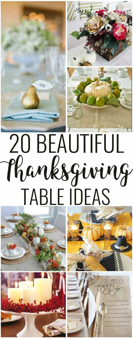 Elegant and simple Thanksgiving Table decor ideas! From centerpiece ideas to kids tables and pumpkin decor, you will love these! #thanksgiving #centerpiece #thanksgivingtable #thanksgivingdecor #thankful #placemats #tablesetting #placesetting #diy #tabledecor #thanksgivingtableideas