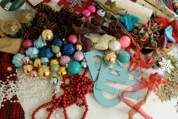 Repurpose thrifted or outdated Christmas decorations to fit your changing taste and style.
