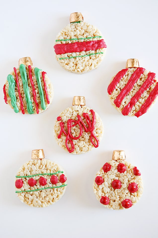 Rice Krispie Treats Christmas ornaments decorated with rolos and icing