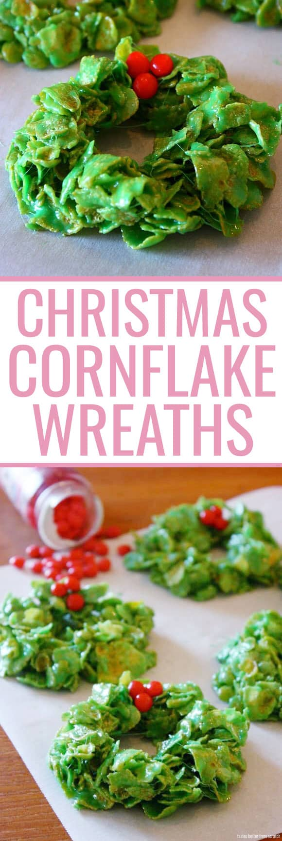 How adorable are these Christmas cornflake wreaths?! The marshmallow and cornflake treats are so good, they're perfect for Christmas parties and such a fun treat to make as a family!
