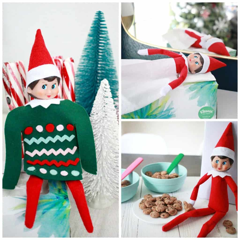 Cute Elf on the Shelf Ideas collage of Elf wearing an ugly sweater, sleeping on kleenex box and eating cookie crisp cereal.