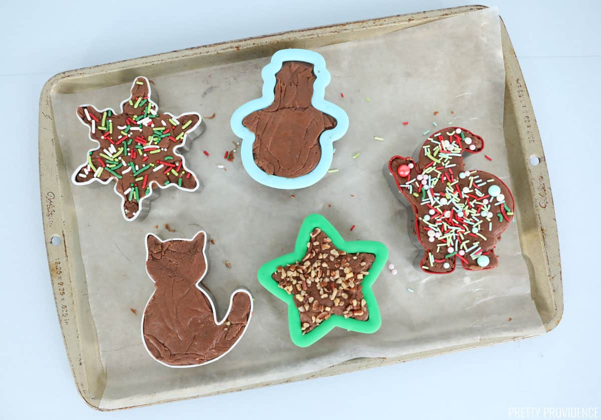 Fudge filled cookie cutters, perfect for a holiday gift!