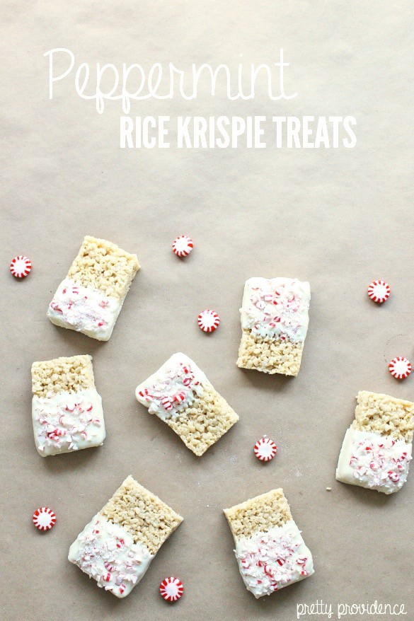 Vanilla Peppermint Rice Krispie Treats! Use candy canes or peppermints.