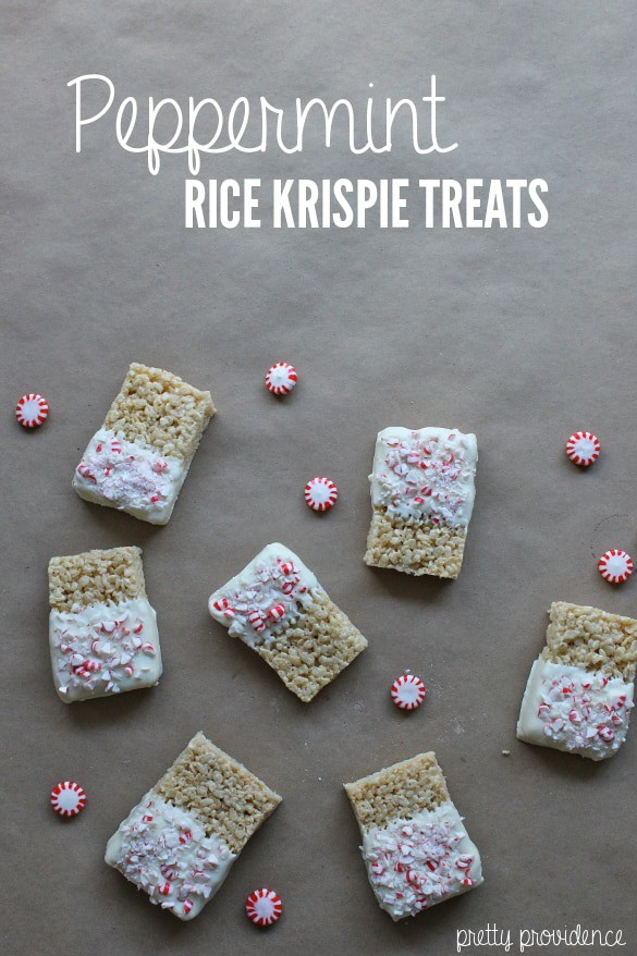 ... Peppermint Rice Krispie Treats! Use candy canes or peppermints