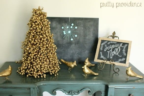 Spray paint old Christmas decorations to make them feel new & stylish.