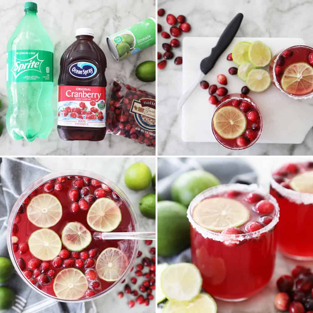 collage image of the steps to making cranberry punch