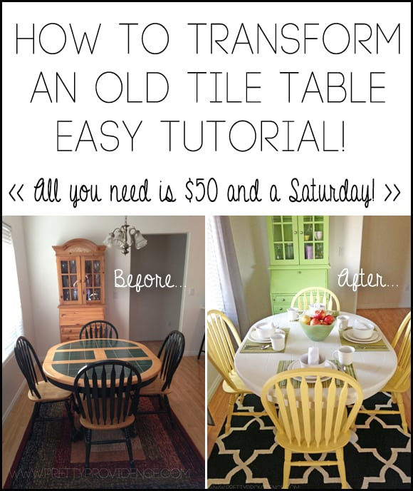 How to transform an old tile table with $50 and a Saturday!