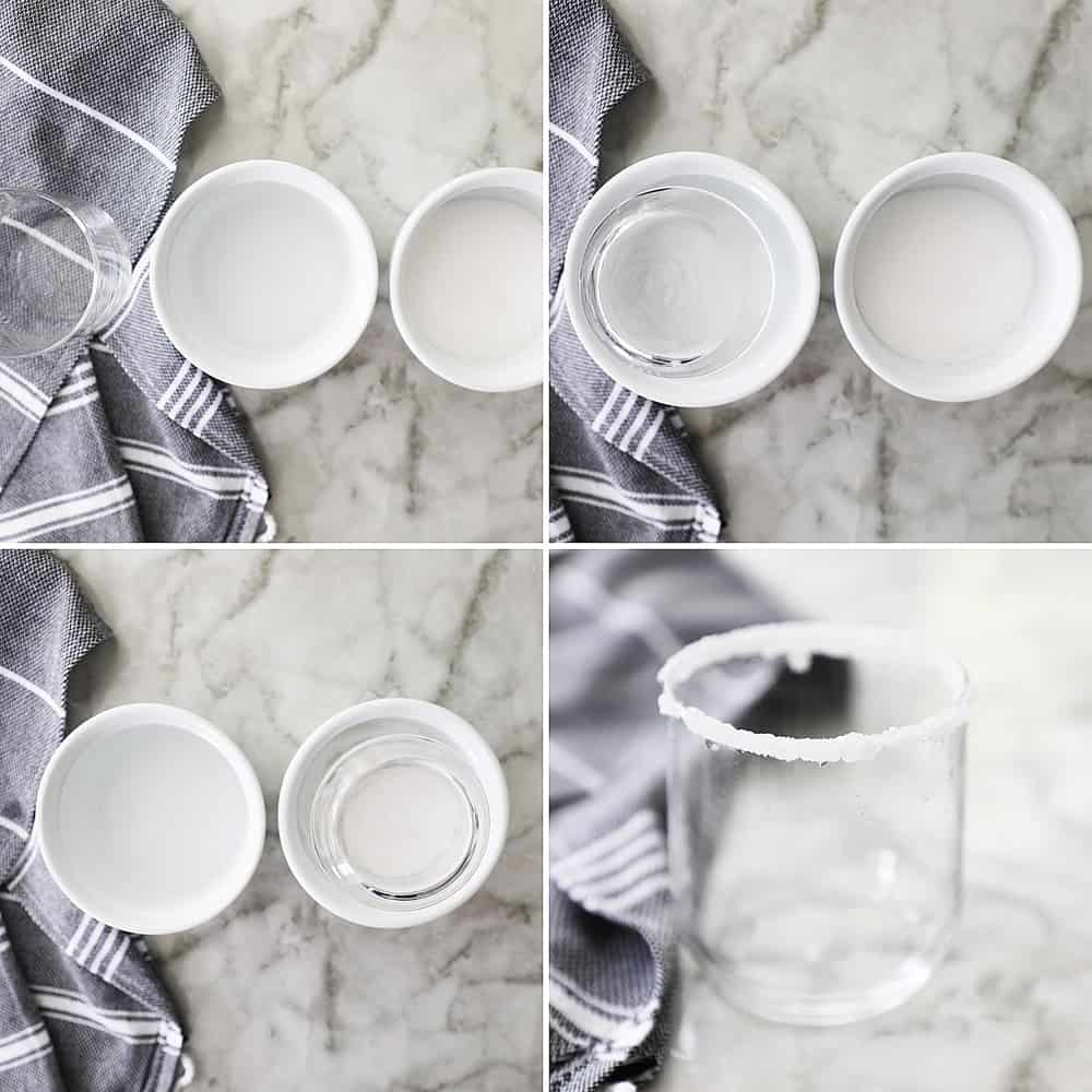 a collage image of how to sugar the rim of your glass step by step