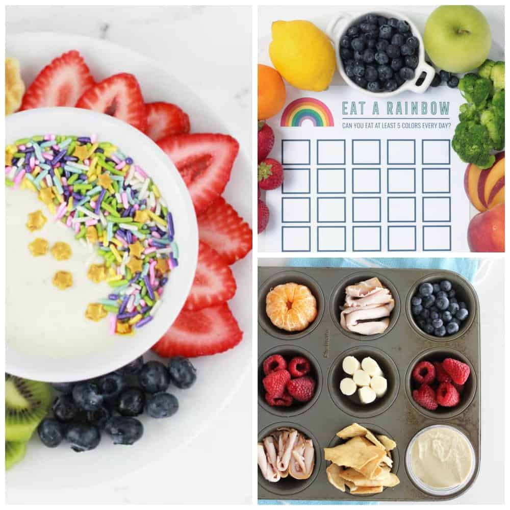 Picky Eater Tips Collage of Photos - 1. Yogurt with sprinkles and fruit 2. muffin tin lunch 3. reward chart for eating colorful fruit and vegetables.