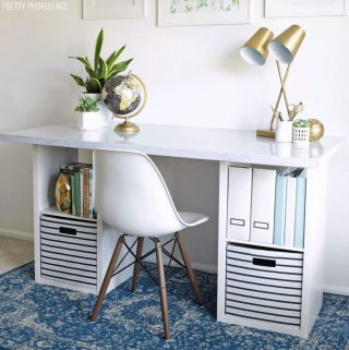 DIY desk made from two storage cube bookshelves and IKEA desk top with marble look