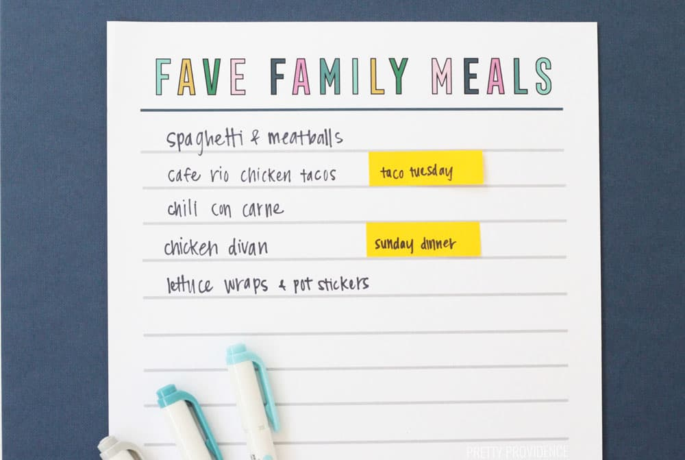 Favorite meals printable list with highlighters and post-it notes and dinner ideas written on it.