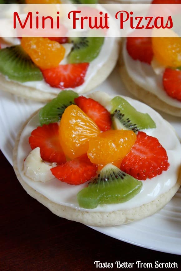 Mini Fruit Pizzas - made with classic soft sugar cookies! To die for.