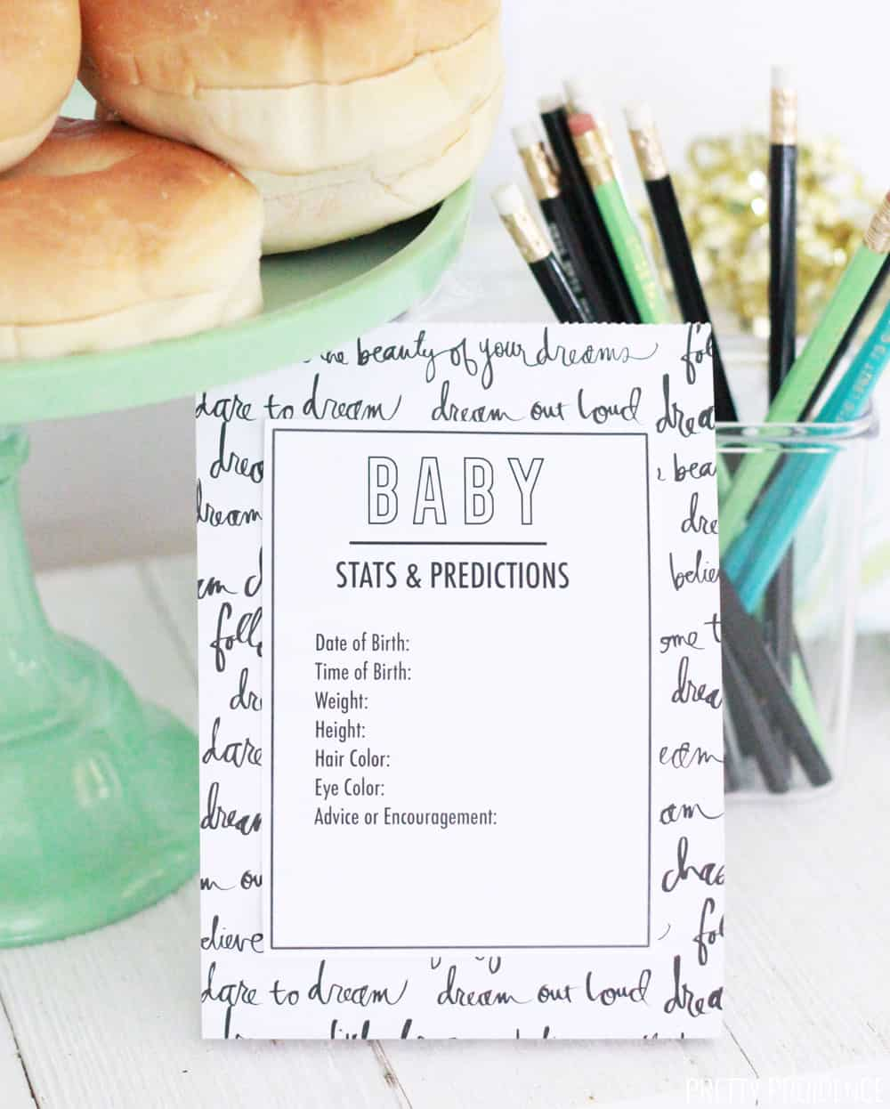 Baby Stats and Predictions Baby Shower Printable
