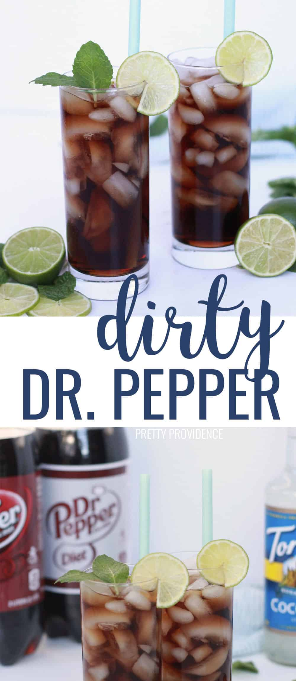 This Dirty Dr. Pepper Swig copycat is a delicious non alcoholic drink recipe with coconut syrup and lime! Our favorite Summer drink recipe! 