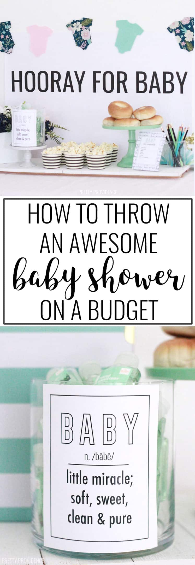 Baby shower ideas on a budget with cute free printables, games and food ideas! #babyshower #babyshowerideas #babyshowerdecorations #babyshowerfavors #freeprintable #partyideas #parties #babyshowergames