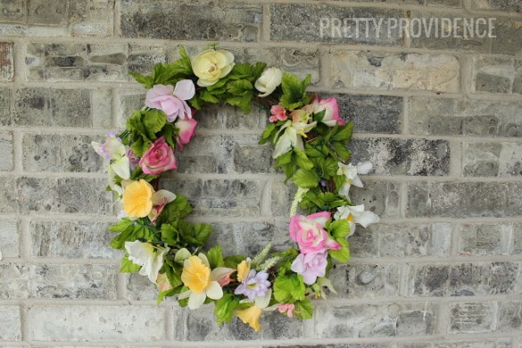 DIY spring wreath from thrift store flowers & old wreath