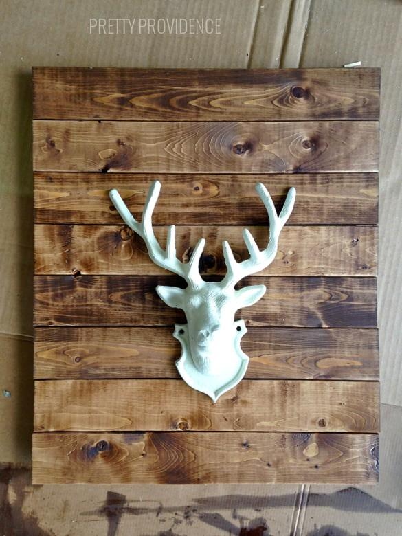 DIY faux stag head wall art