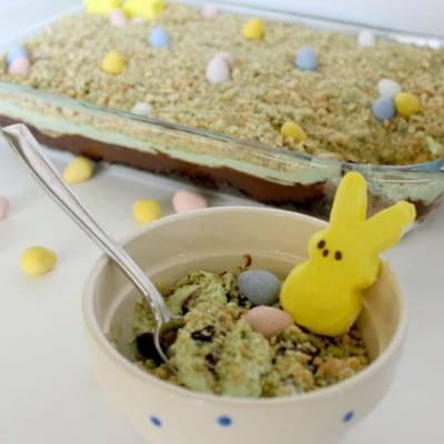 How freaking adorable is this easy Easter dirt cake? Fun and festive!
