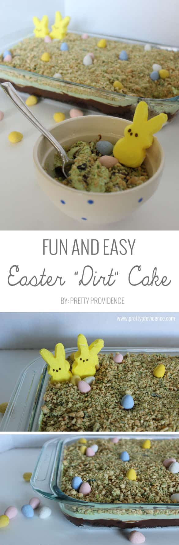I love this fun and easy Easter dirt cake! I mean, what kid wouldn't love this combination?