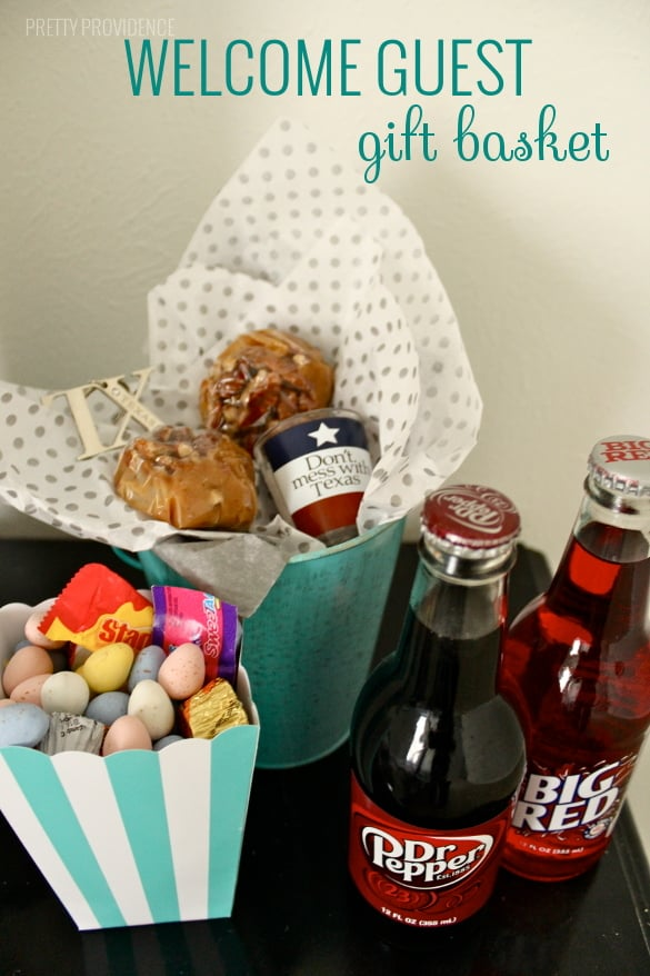 make a little gift basket for guests coming to visit you from out of state with souvenirs and treats native to where you live!
