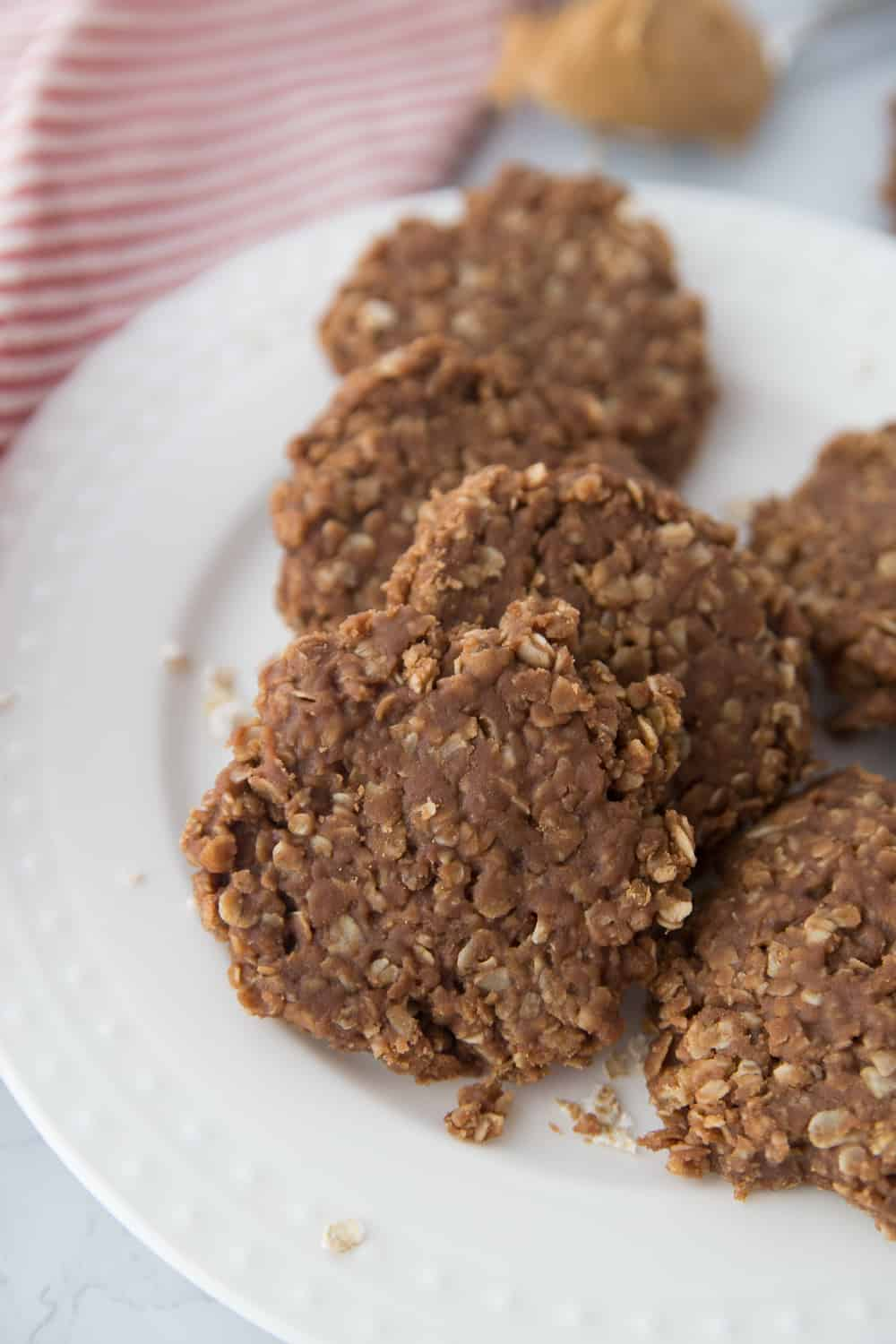 No bake cookies on a plate.