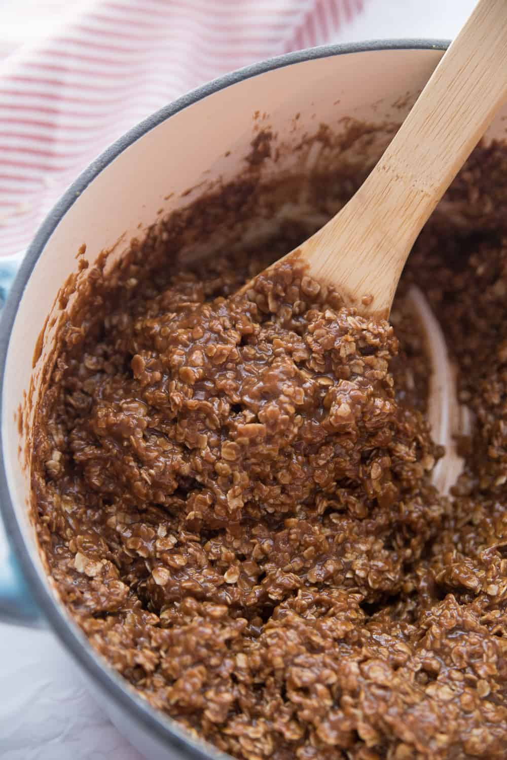 Now oats have been added to the no bake cookie stovetop mixture.