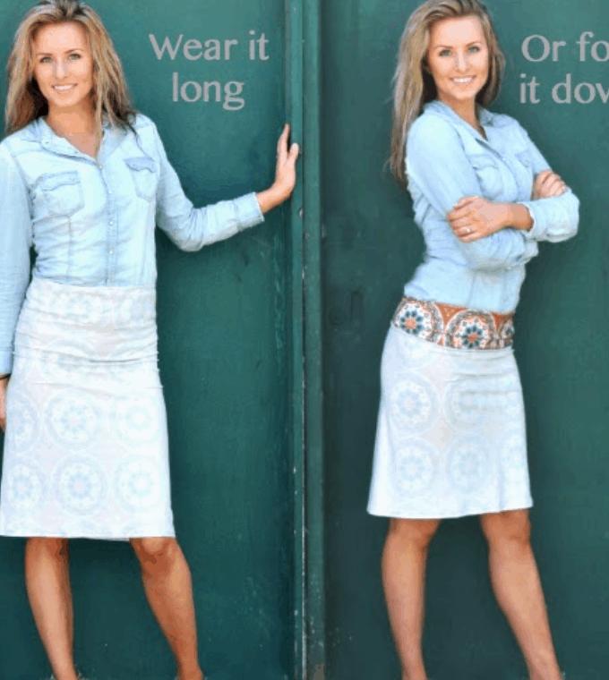 DIY Simple Knit Folded-Waist Skirt