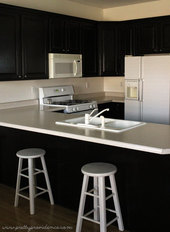 Using java gel stain by General Finishes and Ikea knobs and handles, I gave my entire houses' cabinets a makeover for less than $200!